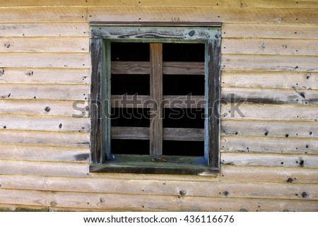 Vintage window and wall background - stock photo