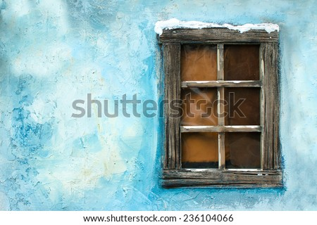 Vintage window on a blue wall - Christmas decoration - stock photo
