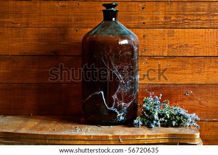 Vintage wine barrel covered with cobweb and dry flowers in old village house - stock photo