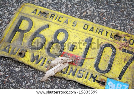 Vintage Wisconsin license plate - stock photo