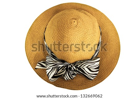 Vintage woman hat isolated on white background - stock photo