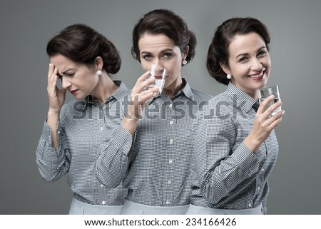 VIntage woman taking an effective medicine with a glass of water and changing from sick to healed - stock photo