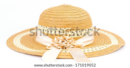 Vintage women hat on isolated white background