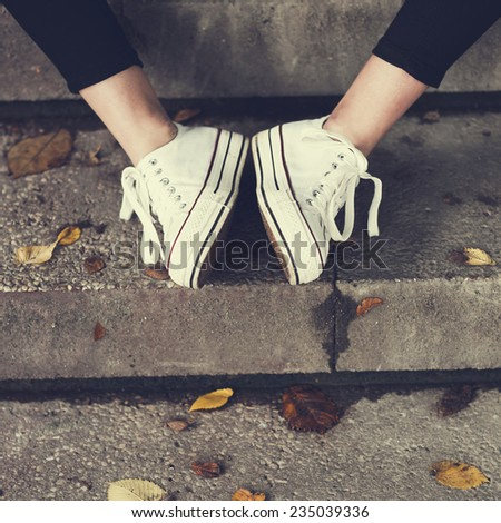 vintage women's shoes - stock photo