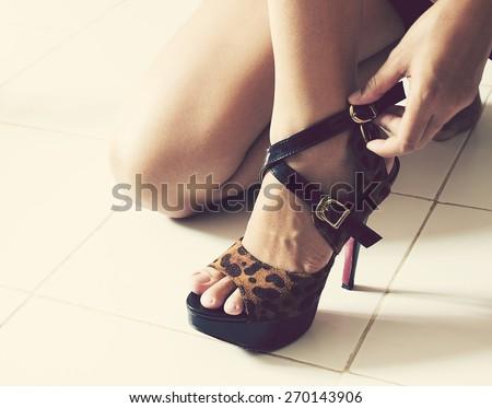 Vintage,Women wearing high heels - stock photo