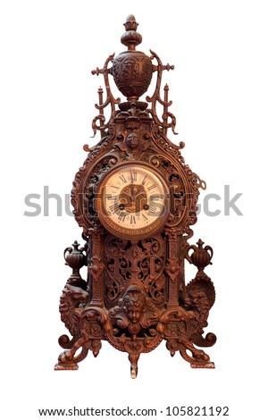 Vintage Wood Clock - stock photo