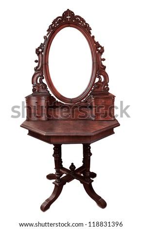 Vintage wood frame mirror on white background - stock photo