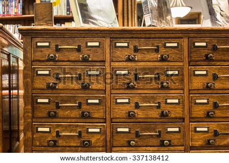Vintage wood library card catalog - stock photo