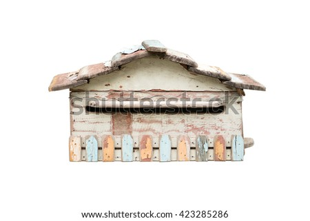 vintage wood mailbox isolated on white with clipping path - stock photo