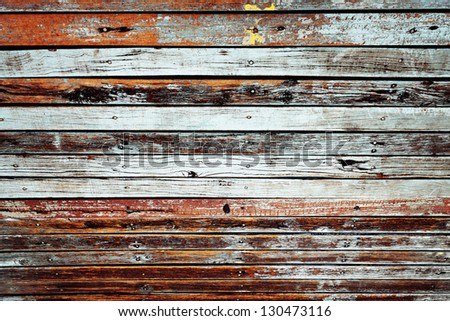 Vintage wood panel from old bridge - stock photo