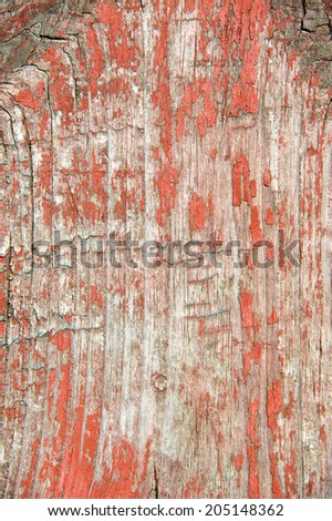 Vintage wooden background with red peeling paint - stock photo