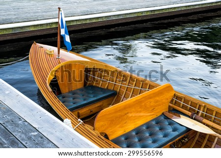 Vintage wooden boat - stock photo