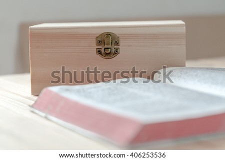 vintage wooden box, vintage closed wooden box with lock - stock photo