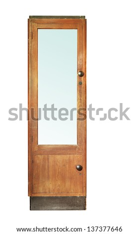 Vintage wooden cabinet isolated on white background - stock photo