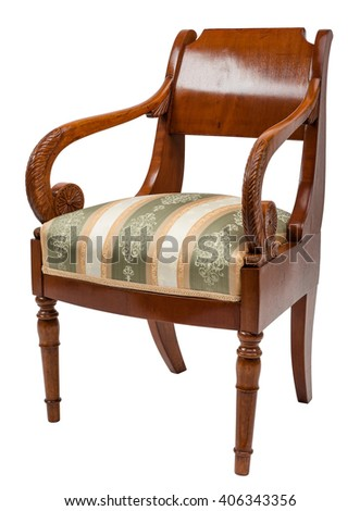 Vintage wooden chair isolated on white background - stock photo