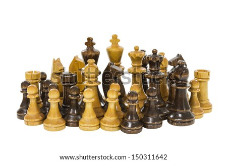 Vintage wooden chess pieces isolated on white. - stock photo