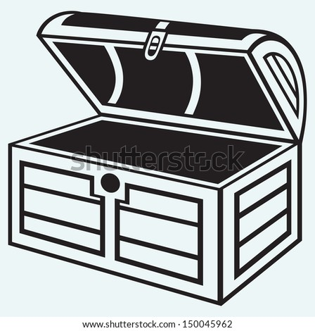Vintage wooden chest isolated on blue background. Raster version - stock photo