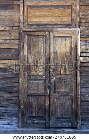 vintage wooden door - stock photo