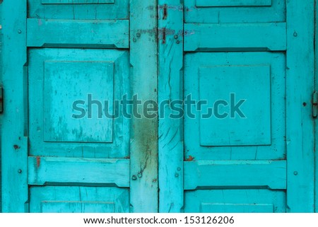 vintage wooden door,colonial old building style at Nong Khai, Thailand. - stock photo