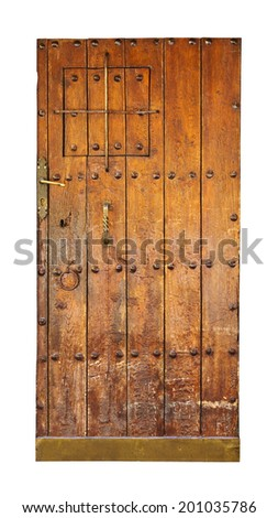 Vintage wooden door. Isolated over white