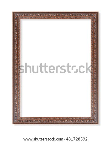 Vintage wooden frame isolated on white