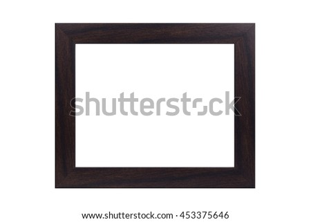 Vintage wooden frame isolated on white with clipping path.