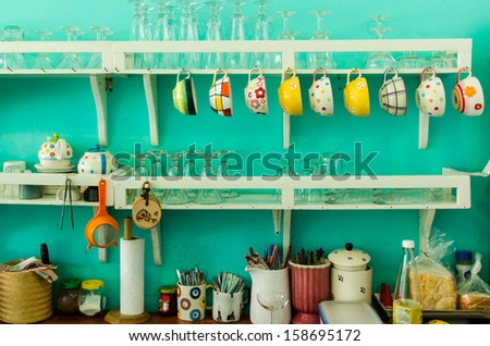 Vintage wooden kitchen counter - stock photo