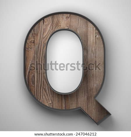Vintage wooden letter q with metal frame - stock photo
