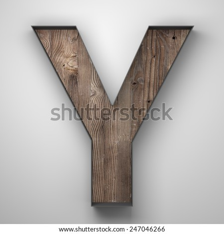 Vintage wooden letter y with metal frame - stock photo