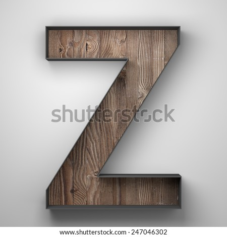 Vintage wooden letter Z with metal frame - stock photo