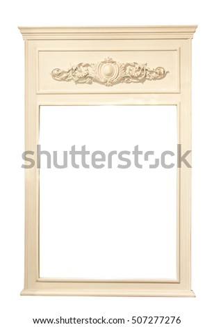 Vintage wooden retro vintage scuare picture frame with molding, stucco. Isolated on white background.