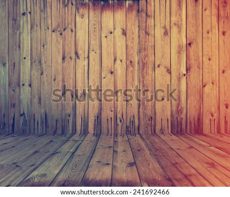 vintage wooden room, retro film filtered, instagram style  - stock photo