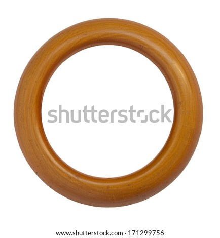 vintage wooden round frame isolated over white background, clipping path