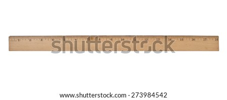 vintage wooden school ruler over white, clipping path - stock photo