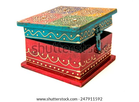 Vintage wooden square form casket from India - stock photo