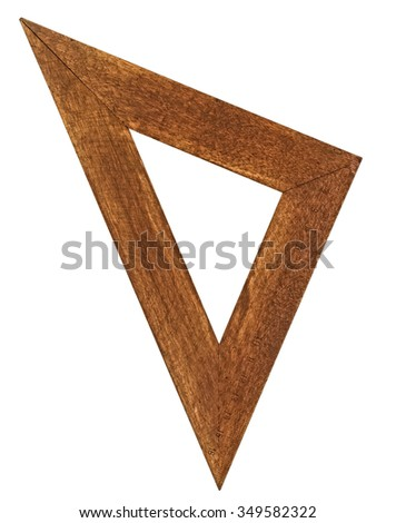 vintage wooden stained triangle ruler over white - stock photo