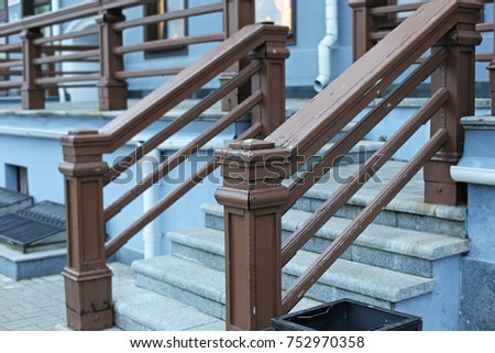 Superieur Vintage Wooden Stair Railing Close Up