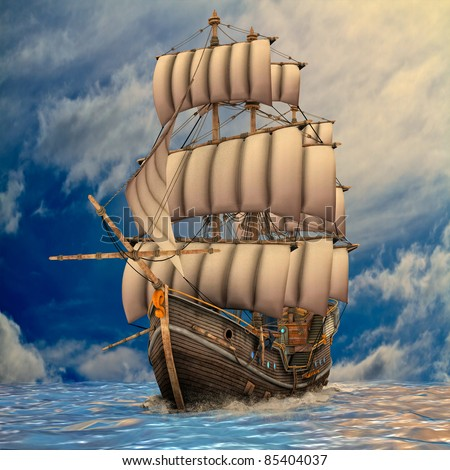 Vintage wooden tall ship under full sail in rough sea. Blue sky sunrise or sunset, clouds. Illustration
