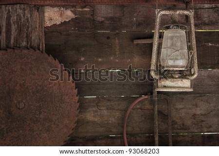 Vintage wooden tool shed - stock photo