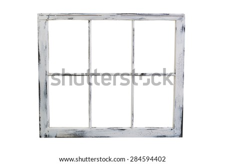 Vintage wooden window with fading white paint isolated on white background.  - stock photo