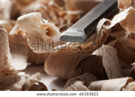 Vintage woodworking tool and wood chips - stock photo