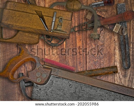 vintage woodworking tools on wooden bench, space for your text - stock photo
