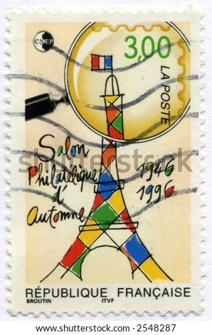 vintage world postage stamp ephemera - stock photo