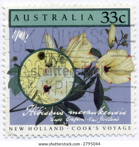 Vintage World Postage Stamp Ephemera australia(editorial) - stock photo