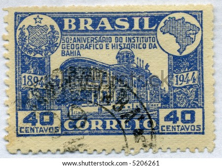 Vintage World Postage Stamp Ephemera (editorial) brazil circa 1944 - stock photo