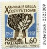 vintage world postage stamp ephemera italy - stock photo