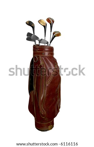 Vintage worn clubs in an old bag isolated over a white background