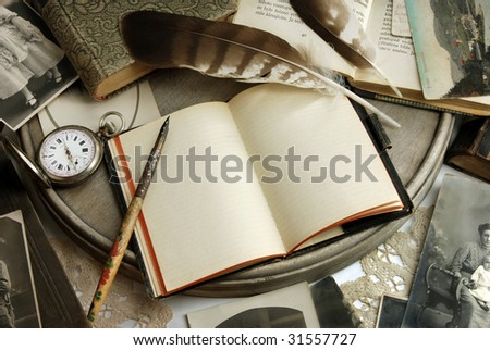 Vintage writing and photographs - stock photo