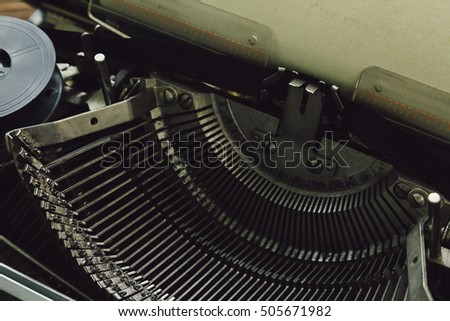 Vintage writing machine. Close up view of prints.