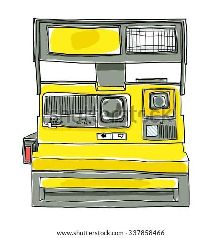vintage Yellow Camera  art  illustration - stock photo